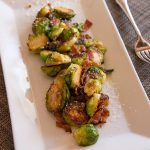 Brussels Sprouts & Bacon with caramelized sweet onion and white balsamic syrup